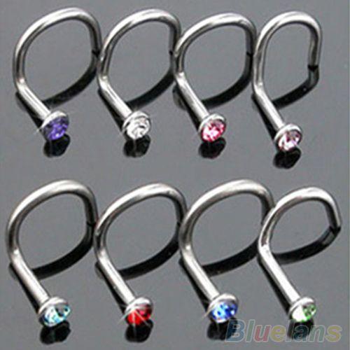 Купить товар 10Pcs Mix Colors Rhinestone Hook Bone Bar Pin Piercing Jewelry Nose Studs Rings 2MGF в категории Украшения для тела на AliExpress. 10 шт. Смешивать цвета горный хрусталь крючок кости бар шпильку пирсинг носа Шпильки Кольца Спецификация: Сверка