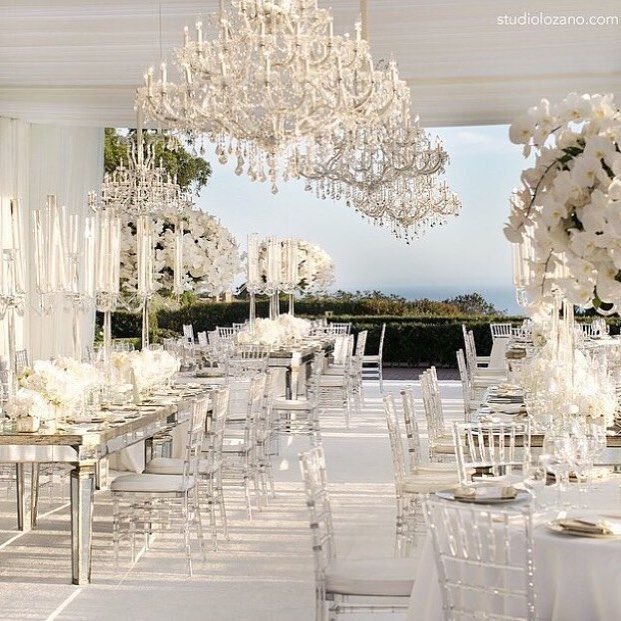 Lucite chairs will be big in 2016 - they're perfect in this pure white reception ~ Amber Event Production