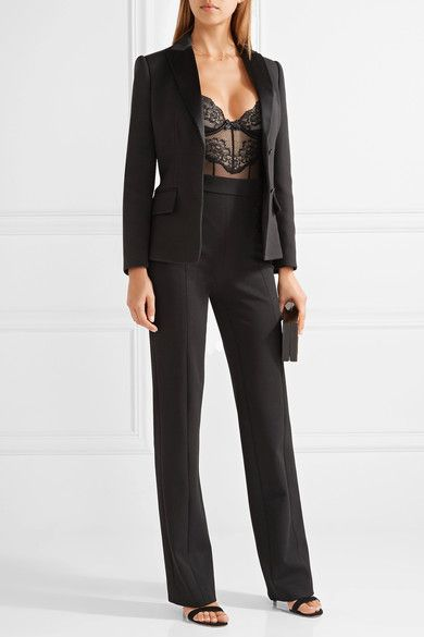 L'Agent by Agent Provocateur - Laurenta Paneled Tulle And Metallic Lace Bodysuit - Black