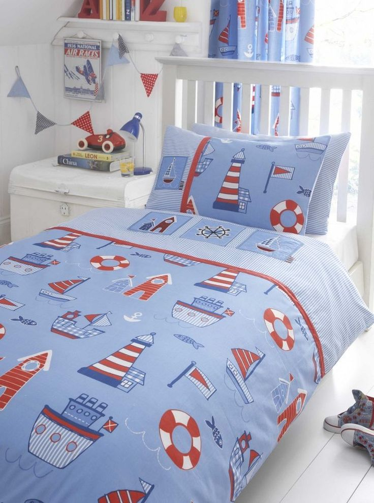 Sail boat single & double duvet quilt cover ORcurtains, boy's bedding, blue, NEW