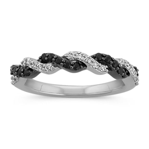 Brand New AAA Black Round Diamond Twisted Ring in White Gold