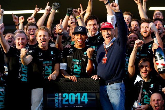 Mercedes celebrate becoming the 2014 Formula One World Championship Constructors' Champions. Rd16, Russian Grand Prix, Race, Sochi Autodrom, Sochi, Krasnodar Krai, Russia, Sunday 12 October 2014.