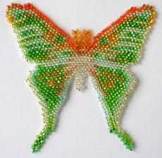 Moth Actias Artemis Beading Pattern by Katherina Kostinsky at Bead-Patterns.com