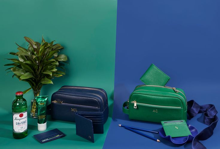 The Daily Edited personalised leather mens range in ink navy and evergreen.