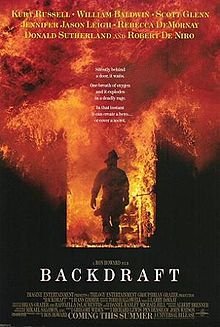 Backdraft, 1991 - drama thriller film directed by Ron Howard & written by Gregory Widen. The film stars Kurt Russell, William Baldwin, Scott Glenn, Jennifer Jason Leigh, Rebecca De Mornay, Donald Sutherland, Robert De Niro, Jason Gedrick & J. T. Walsh. It is about the firefighters in Chicago on the trail of a serial arsonist who sets fires with a fictional chemical substance, trychtichlorate. The film received 3 Academy Award nominations.