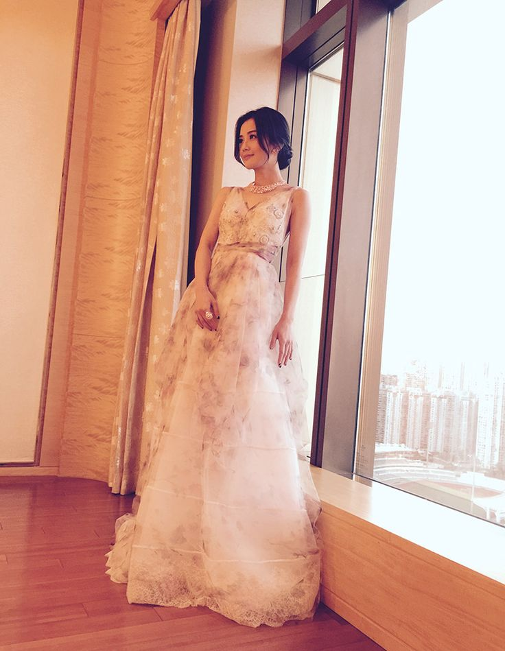 Charlene Choi in a YolanCris Couture dress at Broadway Macau concert