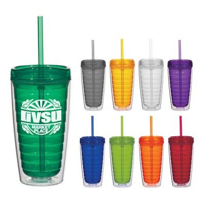 """The Custom Branded Swirl Tumbler with Straw has a Double Wall Construction for Insulation of Hot or Cold Liquids, is BPA Free, Meets FDA Requirements, is Not Microwave or Freezer Safe, it Reduces Condensation Eliminating The Need For Coasters, and has a Matching Lid And 9"""" Straw Included"""