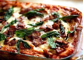 Roasted Butternut Squash Lasagna with Goat Cheese, Bacon, & Fried Sag ...