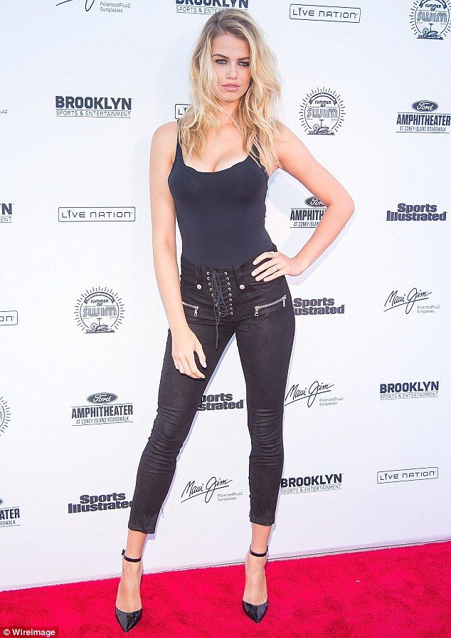 Strike a pose: Also attending the evening concert was this year's SI Swimsuit issue cover girl - Hailey Clauson