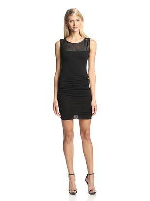 70% OFF Twenty Tees Women's Sleeveless Ruched Dress with Leather Yoke (Black)