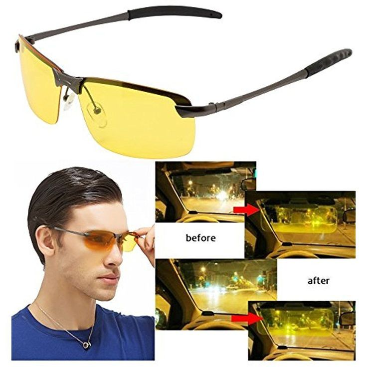 Anti Glare Glasses Driving Night View Night Vision Rimless Goggles Metal Frame #YenJean