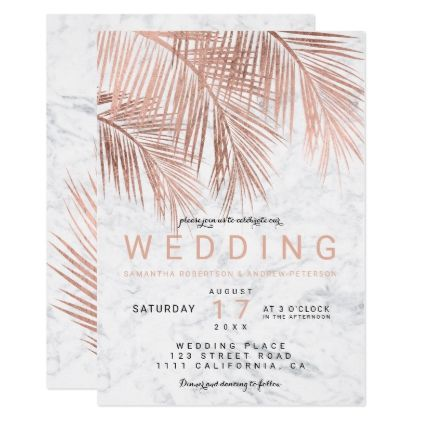 #Modern faux rose gold palm tree marble wedding card - #beach #wedding #invitations #weddinginvitations #card #cards #celebration #beautiful #summer #summerwedding #savethedate #island #heat #love