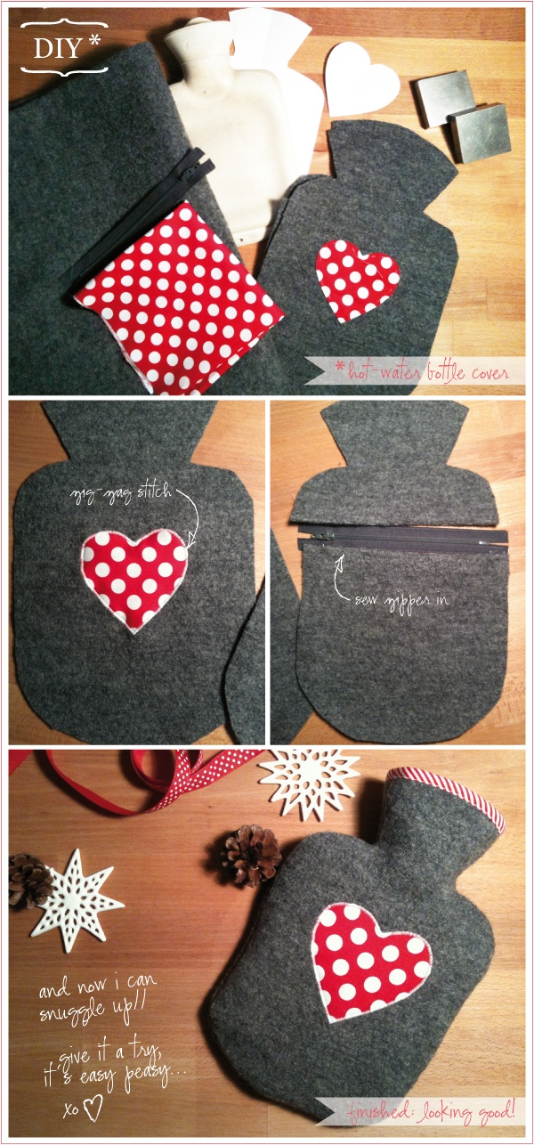 diy hot water bottle cover-good present idea