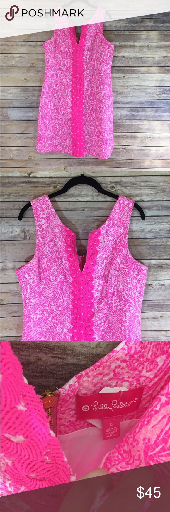 Lilly Pulitzer for Target Hot Pink Shift Dress Lilly Pulitzer for Target Hot Pink Shift Dress. Size 12. In great condition. Too cute! 18 inches pit to pit and 35 top to bottom. Lilly Pulitzer for Target Dresses