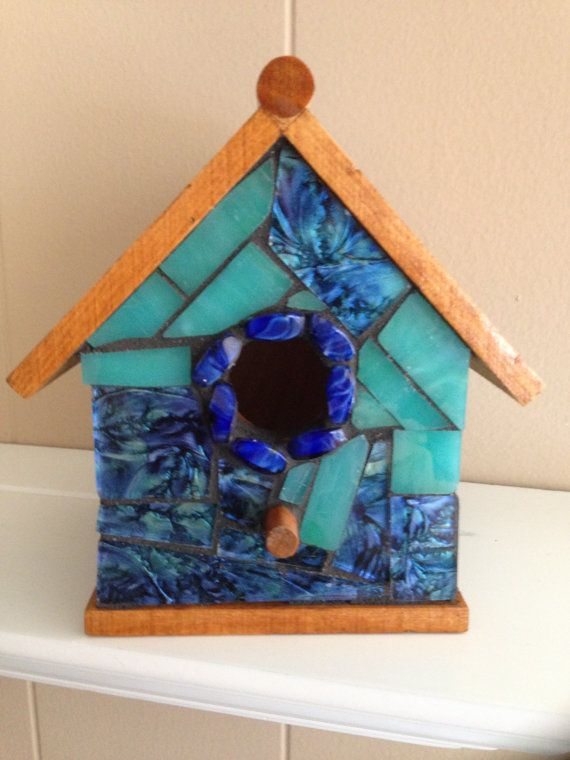 Mosaic Stained Glass Indoor Birdhouse. by StainedGlassMotifs