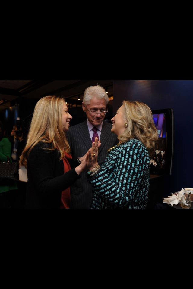 Hillary Clinton with her husband, President Clinton and their wonderful daughter, Chelsea.