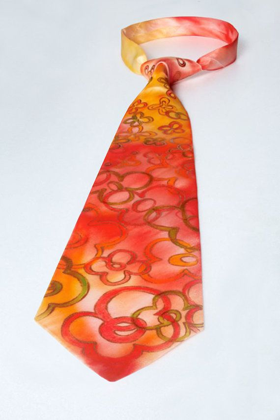 Hand-Painted Silk Tie with Floral Pattern by LaijaArt on Etsy