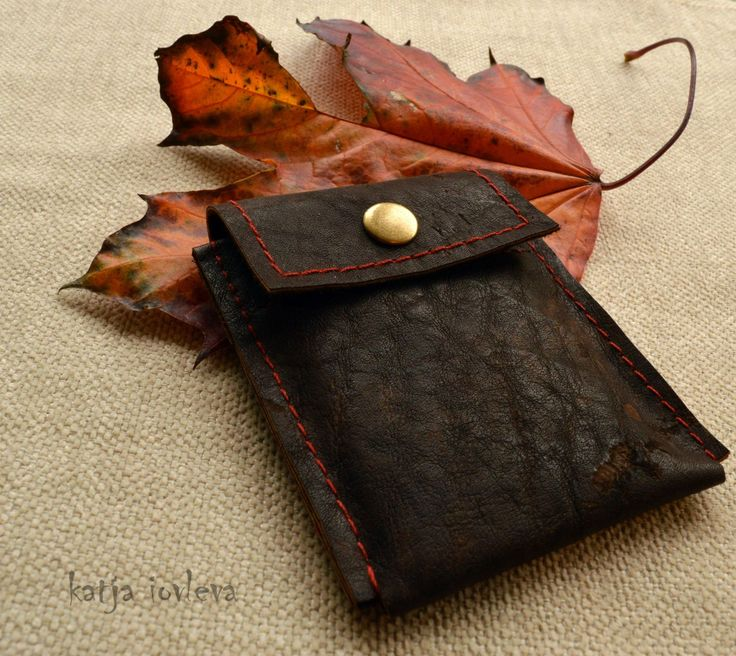 "Leather Business Card Holder  - Business Card Case - Leather Card Wallet - ""Vintage"" by kiQuiltDenmark on Etsy"