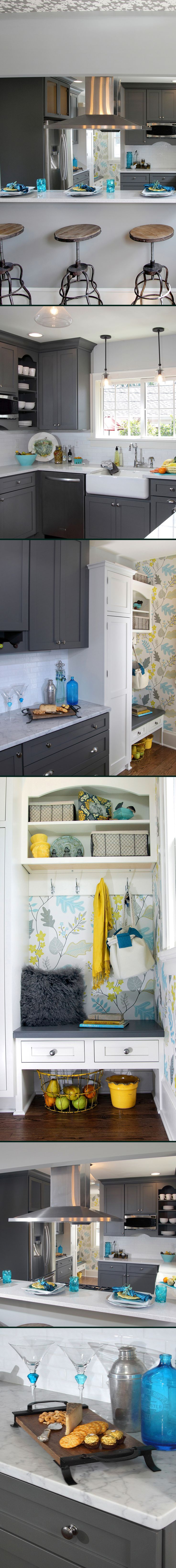 #Gray and #White Transitional #Kitchen Design with Teal Blue and Yellow Accents…