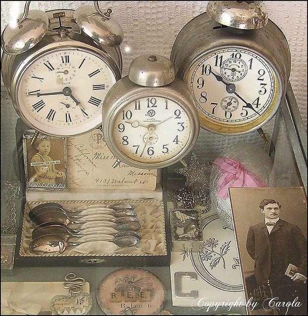 3 vintage alarm clocks on a treasure glass box by Boxwoodcottage, via Flickr