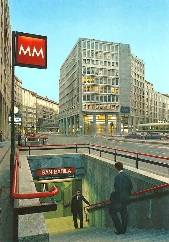 San Babila station entrance, from a 70's postcard.