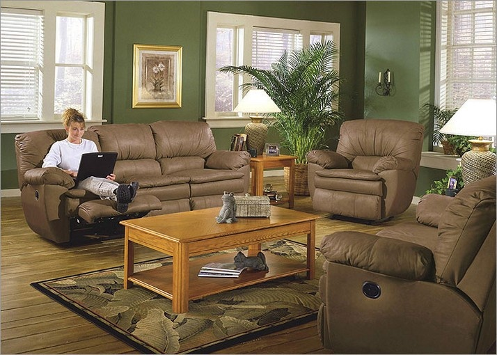 Green Living Room Walls With Soft Brown Furniture