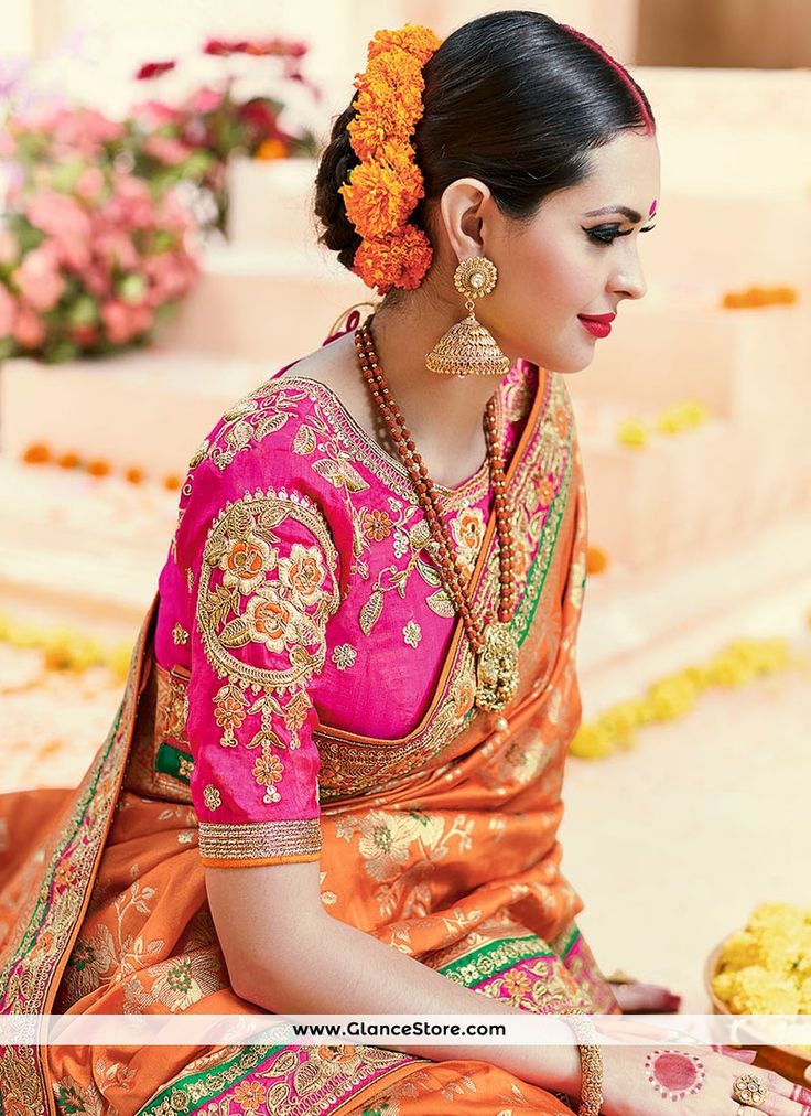 2631 best Indian Low Bun Hair Styles images on Pinterest | Blouse designs, Saree and Wedding sarees