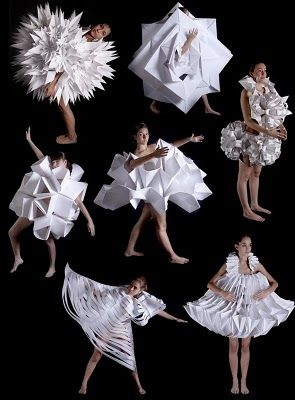 "Paper fashion - great stimulus picture for getting the kids to work collaboratively to make their own ""paper Fashion"""