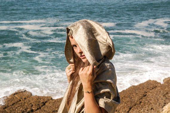 Raw Silk // Oversized Hood Scarf // Champagne by Sarahkka on Etsy