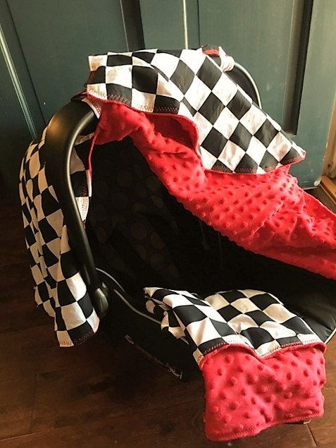 Car Seat Cover, Matching Blanket, Car Seat Canopy, Custom Made To Order, Infant Car Seat Canopy, Baby Car Seat Canopy, Racing Flag