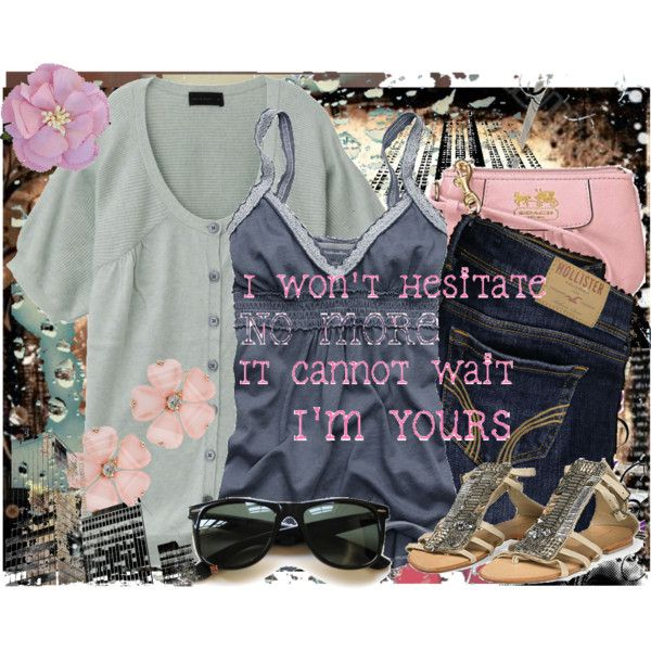 I'm Yours <3 by jujubean1551 on Polyvore featuring мода, Abercrombie & Fitch, Hollister Co., Antik Batik, Coach, Forever 21, Ray-Ban, Clips, grunge and gray