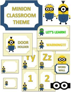 This 36 page PDF file is minion themed and includes:-Minion Cutouts-Minion Eyes (cut these out and glue them to yellow folders to make minion folders for your classroom)-12 Classroom Jobs-2 Hall Passes-2 Bathroom Passes-Behavior Chart-Blank Name Plates-Blank Word Wall Printables-A to Z and 1 to 10 Printables
