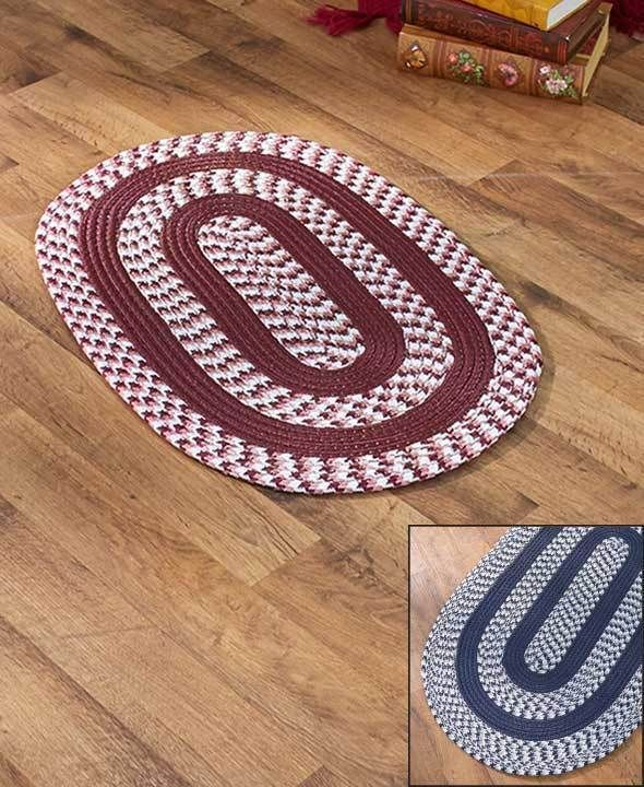 """BRAIDED ACCENT RUG 20"""" X 30"""" NAVY BLUE ENTRY MAT OVAL  REVERSIBLE FOR TWICE WEAR #Unbranded #Braided"""