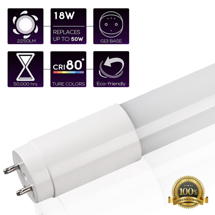 T8 LED Linear Light Tube, 2250lm, DLC 4.0 Qualified & UL Listed, Daylight 5000K, Pack of 4/12 (4 pack-5000k)