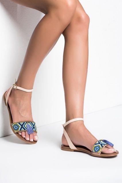 Hakiki Deri Mavi Sandalet MLASS161269