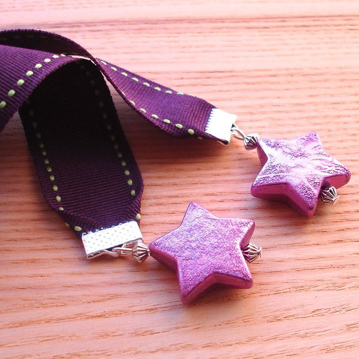 Ribbon Bookmark, Purple Star Bookmark, Unique Teacher Gift, 18th Birthday Gift for Sister, Stocking Filler, Beaded Bookmark, Gift for Her by sweetpyroangel on Etsy