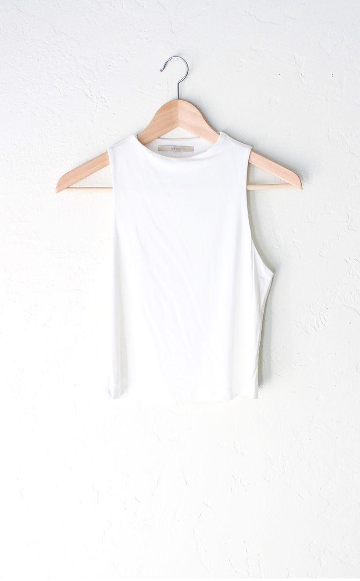 High Neck Crop Top - White