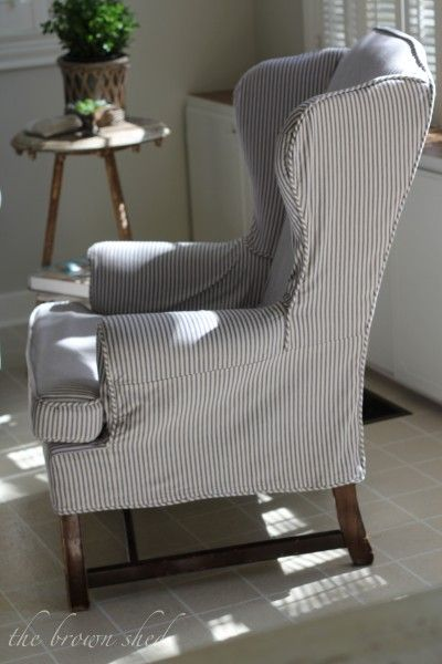 love the ticking...could slip cover two chairs in same relaxed look fabric...linen?