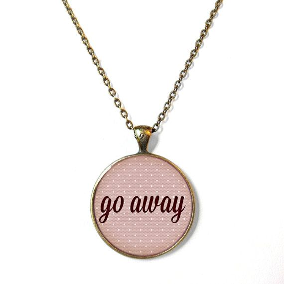 Lace Go Away Pastel Goth Necklace - Funny Rude Mean Soft Grunge Jewelry on Etsy, $15.00