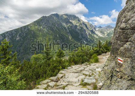 Hiking trail in the Tatra mountains in Slovakia so-called Magistrala Tatrzanska (Tatranska magistrala, Turisticka magistrala)