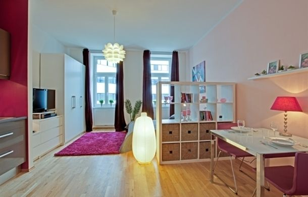 Small Studio Apartment With Bigger Atmosphere : Fancy Small Studio  Apartment Decorating Ideas With Fireplace Wooden Floor | Studio | Pinterest  | Small ...