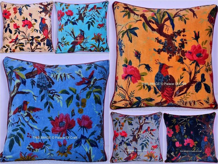Bird Floral Velvet Cushion Sofa Cover Ethnic Indian Traditional Pillow Case Art #Handmade #Traditional #CushionCoverPillowCase