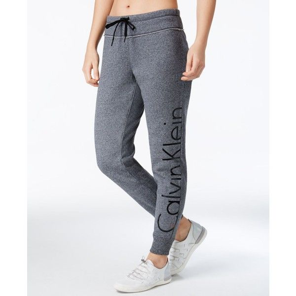 Calvin Klein Performance Fleece Sweatpants ($49) ❤ liked on Polyvore featuring activewear, activewear pants, black heather, fleece sweatpants, fleece sweat pants, sweat pants, calvin klein sweatpants and calvin klein activewear