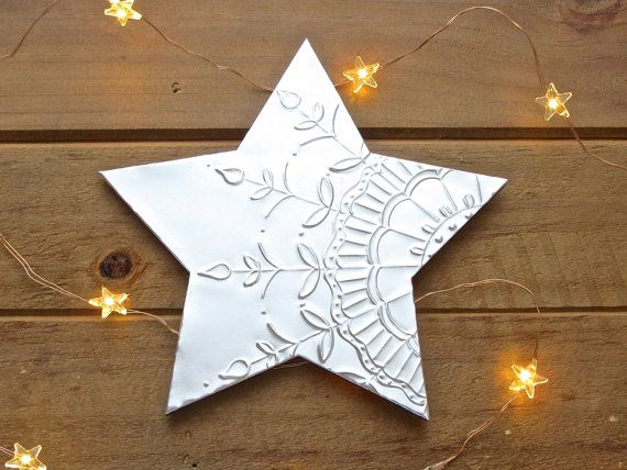6 15cm Wood Metal Hanging Star Decor Silver by FoilingStar on Etsy