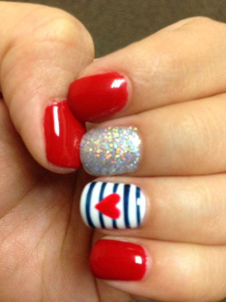 Le Red Opi Gel Fourth Of July Nails My Style White Blue And Glitter