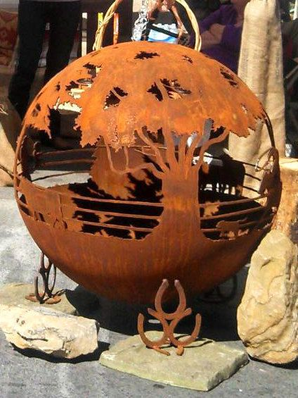 Round Up 37 Ranch Fire Pit Sphere with Flat by TheFirePitGallery