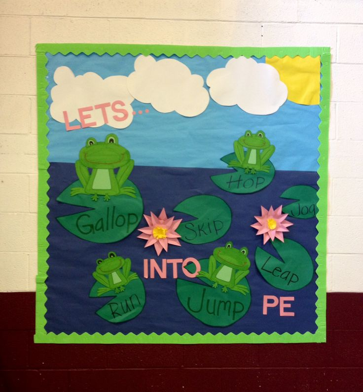 Pe bulletin board - gym - frogs Lilly pads pond  Hop skip and jump into pe.