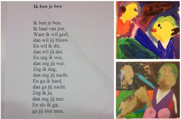 links gedicht, onder origineel en boven de creatie van een basisschoolleerling