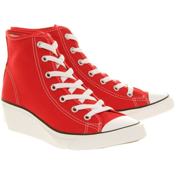 Converse All Star Hi-ness ($38) ❤ liked on Polyvore featuring shoes, sneakers, converse, lullabies, red, red canvas sneakers, red shoes, red wedge sneakers, red platform shoes and wedge sneakers