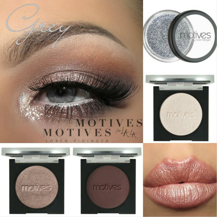 Makeup look for grey eyes using Motives Cosmetics: Eye Base, Mavens Element Palette, Khol Eyeliner Angel, Pressed Shadows in Chocolight, Bedroom Eyes, Pearl, Glitter Pot in Celebrate Lips: Motives for Lala Mineral Lipstick in 24K